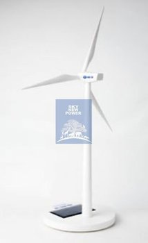 Free Shipping Retail New White Plastic Sloar Windmill Solar Wind Turbine  Children's Toys 061