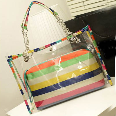 Bolso Desigual Hot Women's Top Handle Bag Chain Bags Rainbow Transparent Lady Summer Beach Tote Bag Candy Color Handbags SG434(China (Mainland))