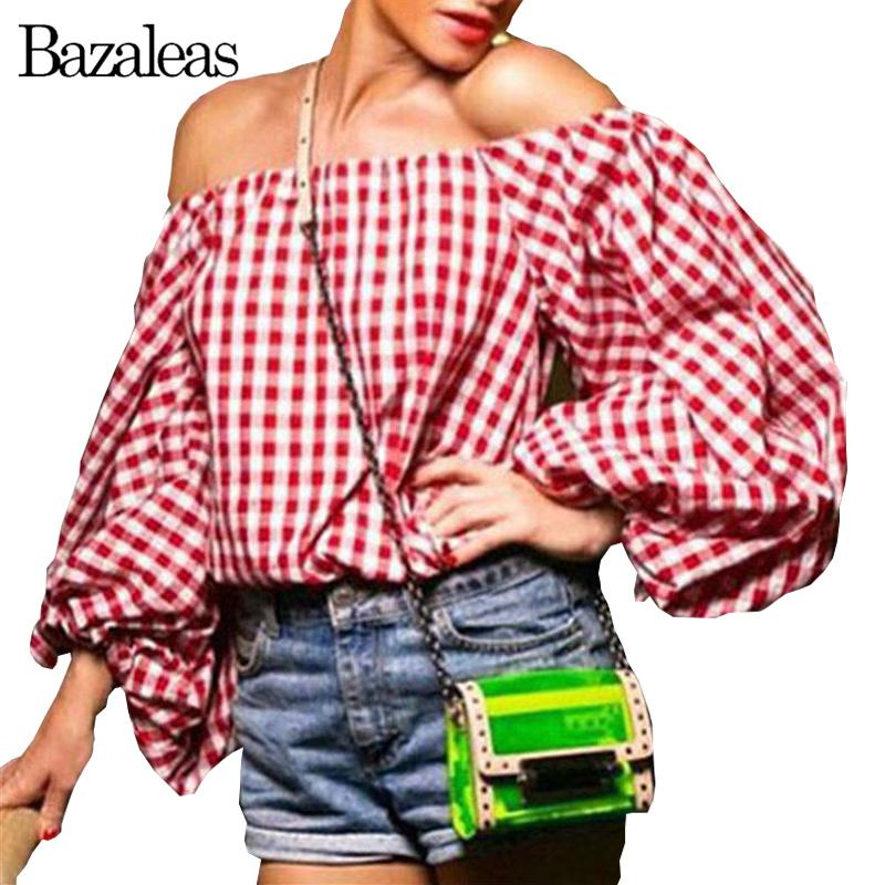 2016 Women font b Tartan b font Red Sexy Blusas Off Shoulder Lantern Sleeve Tops