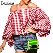 2016 Women Tartan Red Sexy Blusas Off Shoulder Lantern Sleeve Tops