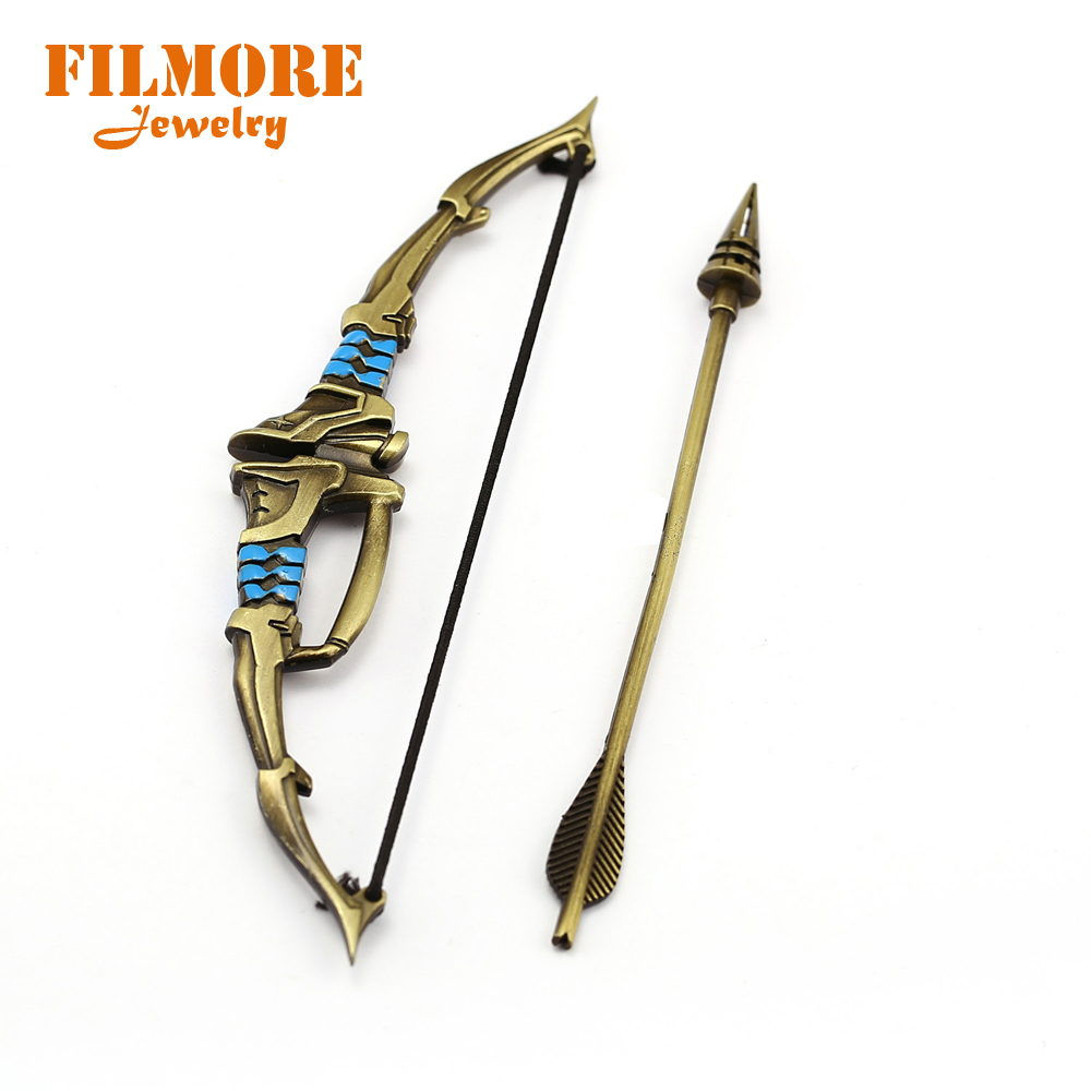 16CM Game Overwatch Keychain Shimada Hanzo Bow and Arrow Miniature Weapon Model Charm Pendant Key Chain Keyring for Man Series 2