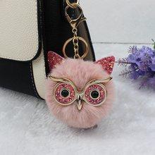 Bonito lantejoulas orelha coruja chaveiros para meninas menino fofo falso animal bola de pele pompon chaveiro charme feminino saco chaveiro dom professor(China)