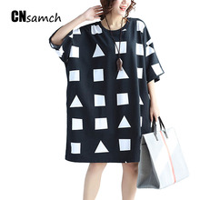Buy Women's Clothing 2017 Summer Dresses Fat Mm Large Size Women Fashion Geometric Pattern Printing Loose Dress Clothes Female for $22.94 in AliExpress store