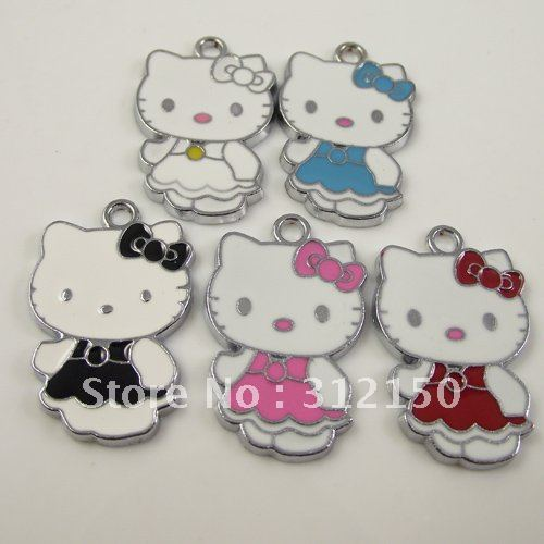 30pcs/lot Free Shipping Fashion Charms small pendant for bracelet cat hello kitty Charm,DIY Jewelry Accessories(China (Mainland))