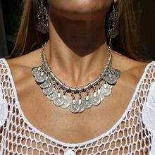 2016 Bohemian Ethnic Antalya Yonca tassel necklace Silver Turkish Gypsy Boho Coachella Beach Choker Bib Coin Necklace for Women