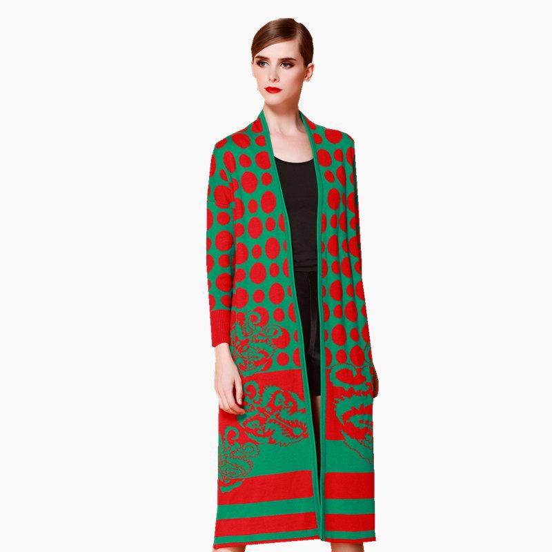 New 2015 women autumn winter runway fashion cardigans elegant dot knitted slim cardigans designer long long cardigan D4038(China (Mainland))