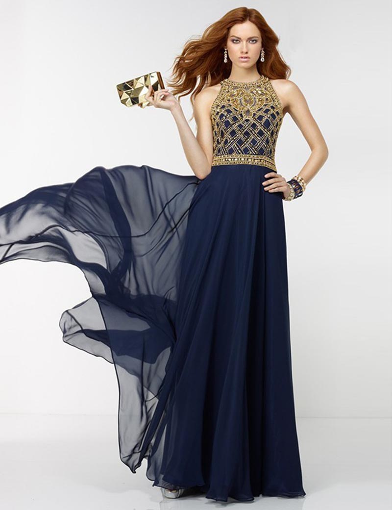 2016 New Fashion Vestidos De Fiesta A-line Navy Blue Evening Dresses Long Chiffon Gold Beades Sexy Lady Prom Party Gowns BA90(China (Mainland))