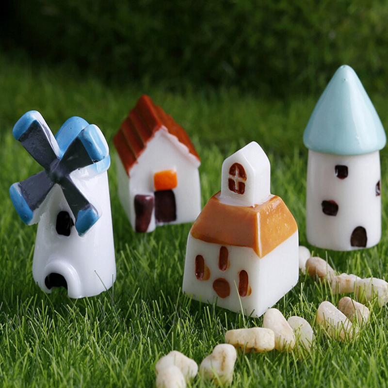 2PCS home decor cute resin crafts windmill church castle Hut house fairy garden miniatures Micro landscape bonsai decor(China (Mainland))