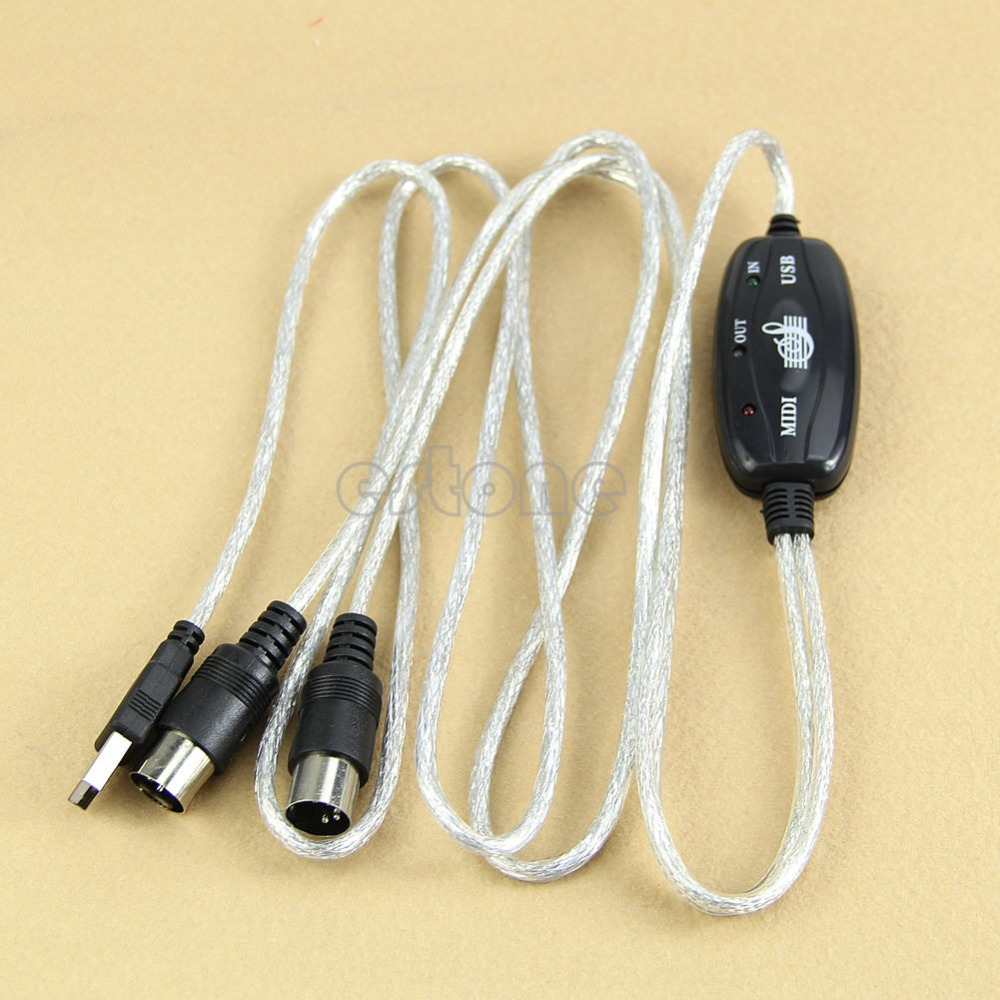 Free Shipping MIDI USB IN-OUT Interface Cable Cord Line Converter PC to Music Keyboard Adapter(China (Mainland))