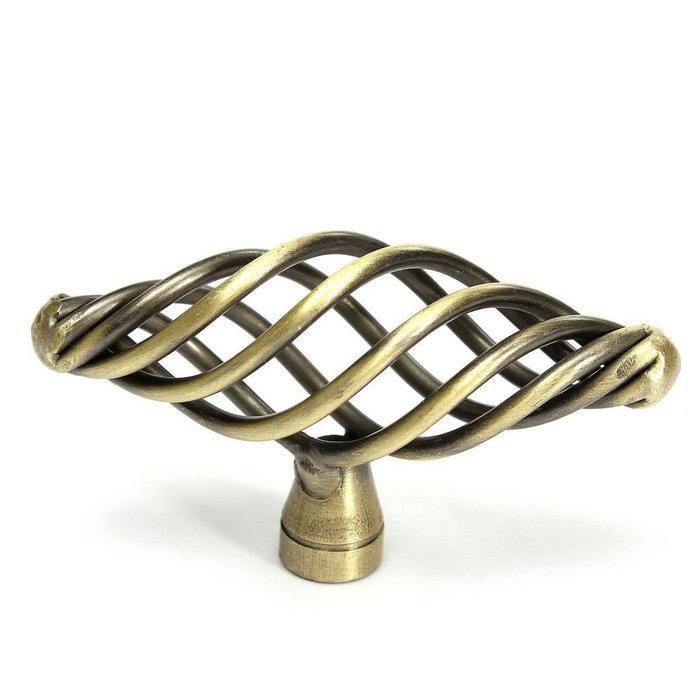 antique bronze cabinet hardware knob oval birdcage design kitchen