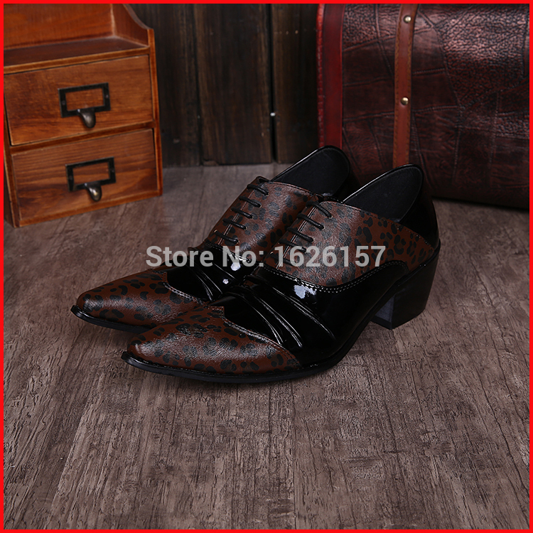 New Hot 2015 Classic Leopard Men Wedding Oxfords Shoes Patch Lace-up Shoes Italian MEN Pointed Toe Leather Shoes Zapatos Hombre<br><br>Aliexpress