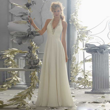 2015 A-Line Halter Long Chiffon Wedding Dress Bridal Gown Floor Length Brida Wedding Gown Crystals Sleeveless Sweep Train F1563(China (Mainland))