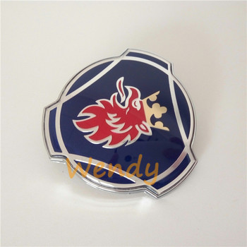 Car Epoxy Resin 3D Grill Emblem Badge 80mm For SAAB Scania ABS Chrome Blue Logo Sticker Styling Decal