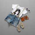2016 Hot Selling Girl Summer Clothing Sets White Simple T Shirt And Denim Bib 2 piece