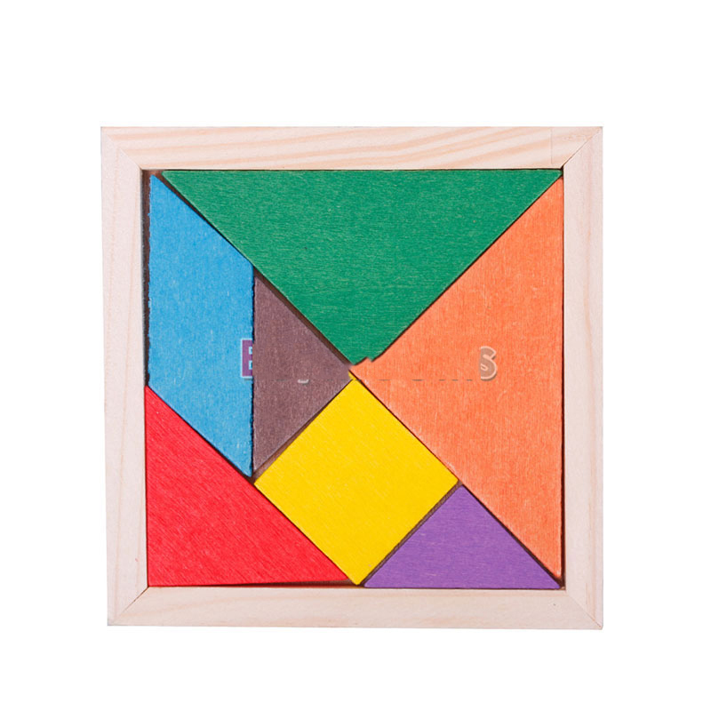 NiceBid Lowest price Magic Square IQ Test 7 Parts Tangram Brain Teaser Puzzle Education Wood Baby Toy top quality(China (Mainland))
