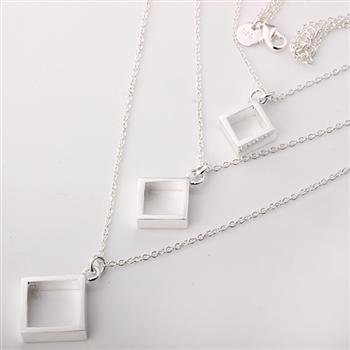 Free shipping 925 silver jewelry necklace Three wire three square necklace fashion jewelry necklace wholesale price