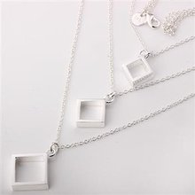 Free shipping,925 silver jewelry necklace ,Three-wire three square necklace. fashion jewelry necklace .wholesale price! L093