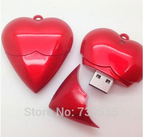 red colour heart U disk usb flash drive 2GB-64GB flash driver usb 2.0 memory stick pen drive s517(China (Mainland))