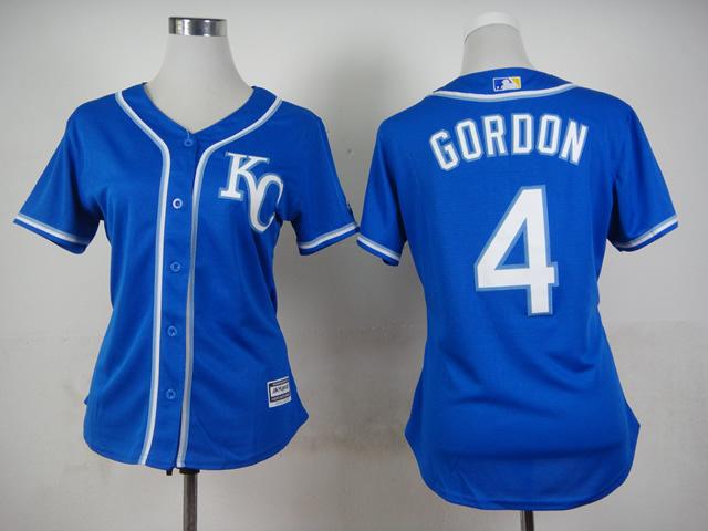 2015 New Kansas City Royals Womens Jerseys #4 Alex Gordon Blue Baseball Jerseys2538(China (Mainland))