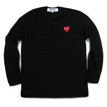 2015 comme des garcons play CDG black white classic red hearts men women long sleeve tshirts tops tee shirts