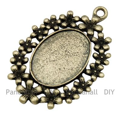 Vintage Antique Bronze Alloy Flower Pendant Settings for Cabochon & Rhinestone, DIY Findings for Jewelry Making, 33.5x50x2mm(China (Mainland))