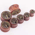 1 Pair The Tree Of Life Saddle Fit Ear Plug Wood Flesh Tunnel Organic Body Ear