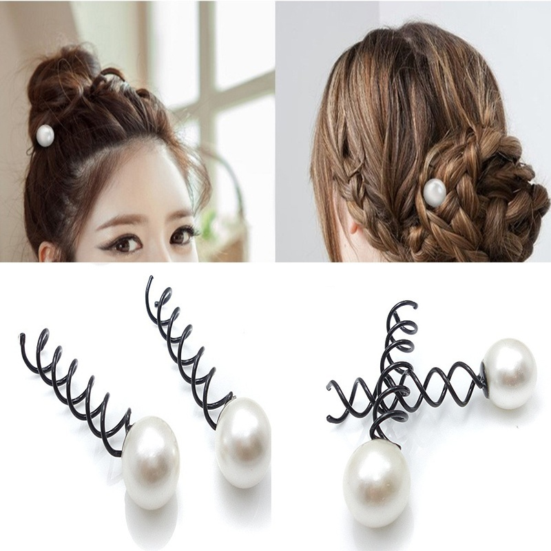 10 Pcs New Arrival Charm Sweet Hair Pin Grips Spirals Bobby Pins With Pearl Nice Good Jewelry Accessories(China (Mainland))