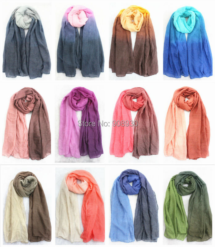 New Ombre Plain Hijabs For Women Cotton Vicsose Fashion Shawl Solid Color Shade Muslim Head Wrap Big Size Soft Scarves Hot Sale(China (Mainland))