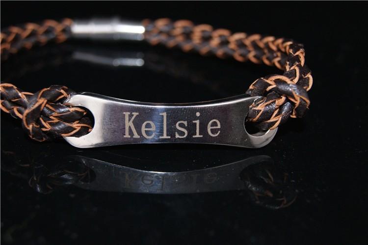 Имя монограмма из нержавеющей стали для мужчин, Имя ювелирные изделия, Мужчины кожаный браслет 21 см, Новый уникальный ID браслет