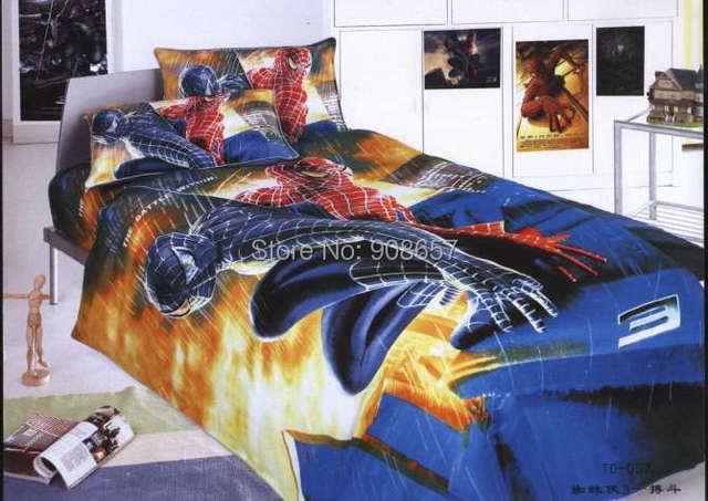 Синий мультфильм человек паук постельных принадлежностей один размер простыня 100% хлопок мягкий пуховое одеяло футляр мальчиков детская покрывало белье