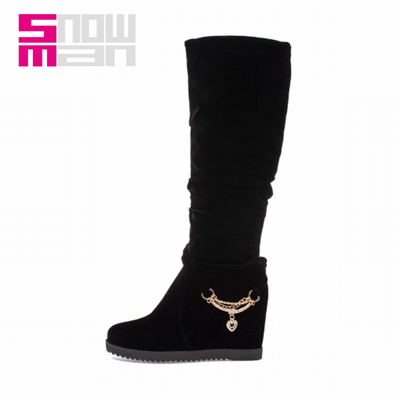 Sexy Metal Chains Pleated Knee High Boots Lady's Hidden Wedges Platform Snow Shoes Woman Winter Boots Women's Shoes Women Boots