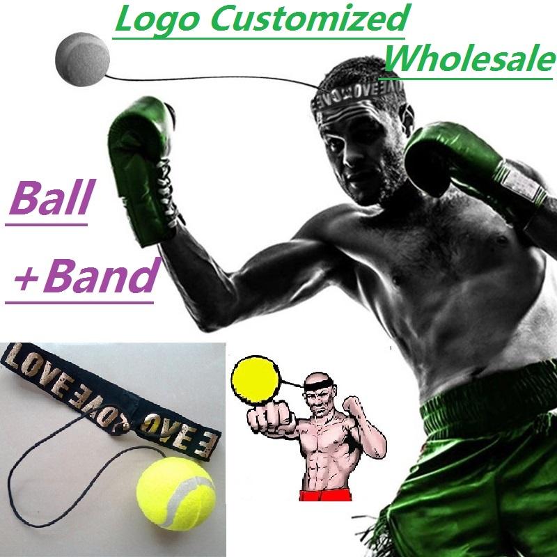 Logo print Wholesaler(Ball+Band)Fitness Boxing Ball Speed Ball Tennis Thai Punching Boxing Training Speed Quick Response Skills(China (Mainland))