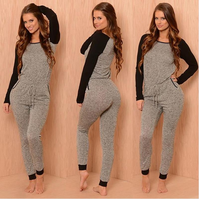 2016 New Sexy Jumpsuits For Women Sport Suits One Piece Outfits Long Pants Long Sleeve Hoody Overalls Rompers Playsuit(China (Mainland))