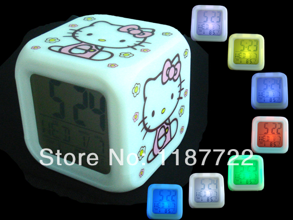 LED Color Colour Hello Kitty Digital Alarm Clock Multifunction Music LED Cute Little Alarm Clock For Children Free Shipping(China (Mainland))