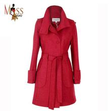 TOP Quality!! Women's Wool Coat Woolen Outerwear Long Winter Jackets Parka For Lady Color Black,Blackish green,Wine red,brown(China (Mainland))