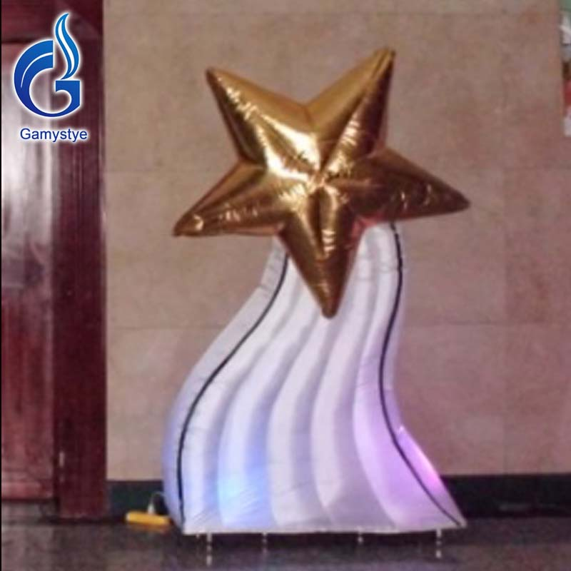 3m Bright LED Light Night Club Decoration Inflatable Advertising Display Inflatable Column With A Star For Wedding/Event/Party(China (Mainland))