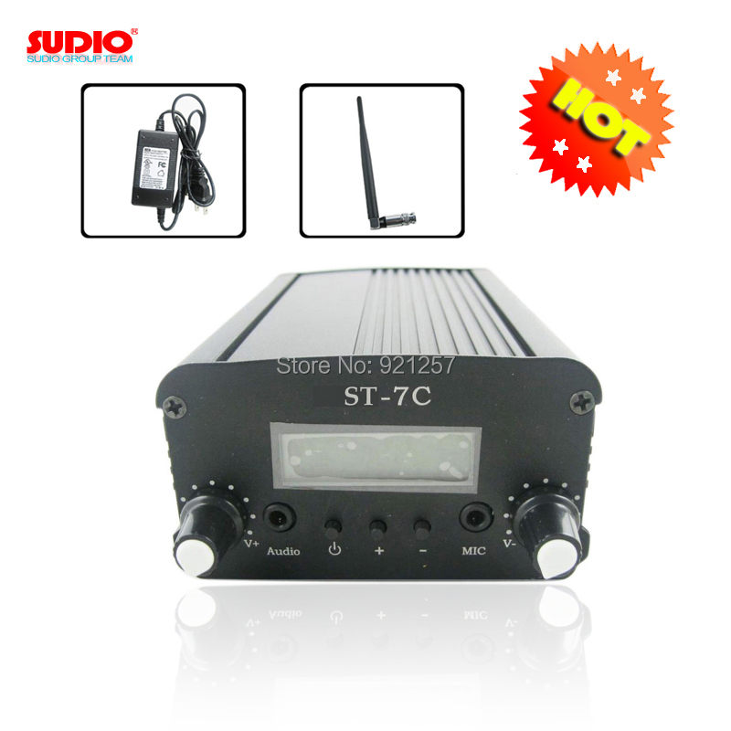 FM transmitter broadcast for radio station ST-7C stereo PLL + power supply + small antenna kit whosesales(China (Mainland))