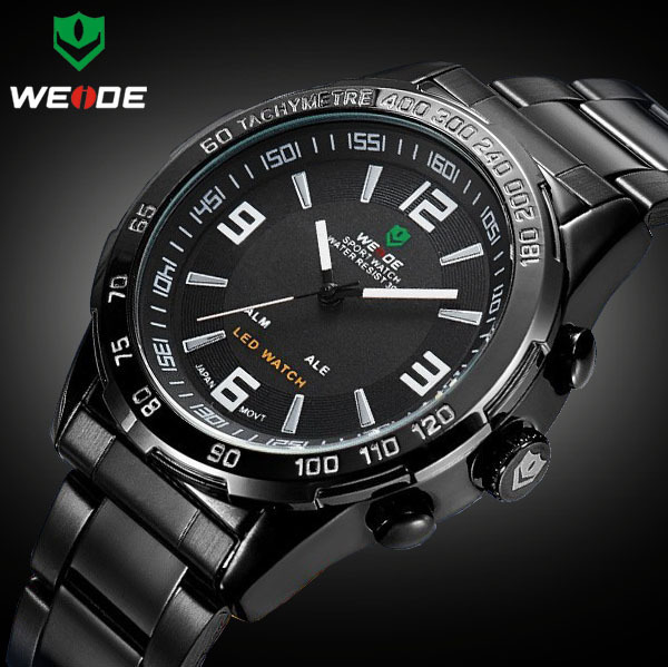 2015 New Weide Luxury Brand Double Time Watches Men Japan Quartz Digital Watch Full Stainless Steel Men Fashion Sports Led Watch(China (Mainland))