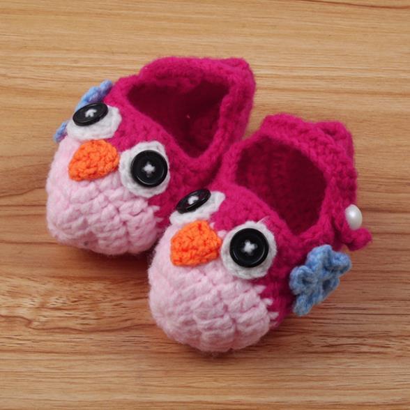Belle unisexe bébé Multi - couleur laine tricotée chaussures hibou Crochet chaussures(China (Mainland))