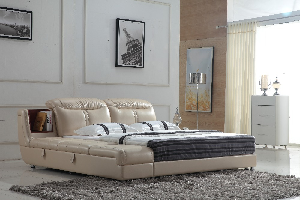 0414-809 modern design soft leather bed(China (Mainland))