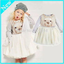 Baby Kids Girls White Princess Bunny Print Thick Tulle Party Fancy Dress 1-6Y