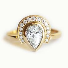 Кольцо Для Женщин 18 К роза solid gold груша бриллиант 0.5 карат, ювелирные изделия с бриллиантами обручальные мода bague(China (Mainland))