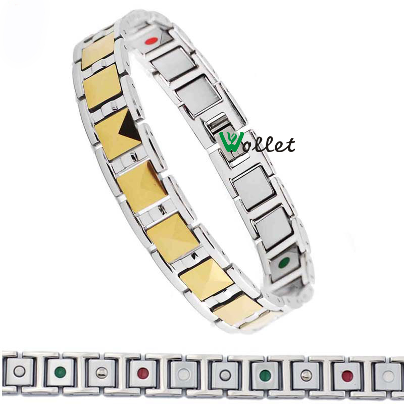 2014 Christmas gift new fashion men jewelry infrared germanium tourmaline carbide gold filled magnetic men tungsten bracelet(China (Mainland))