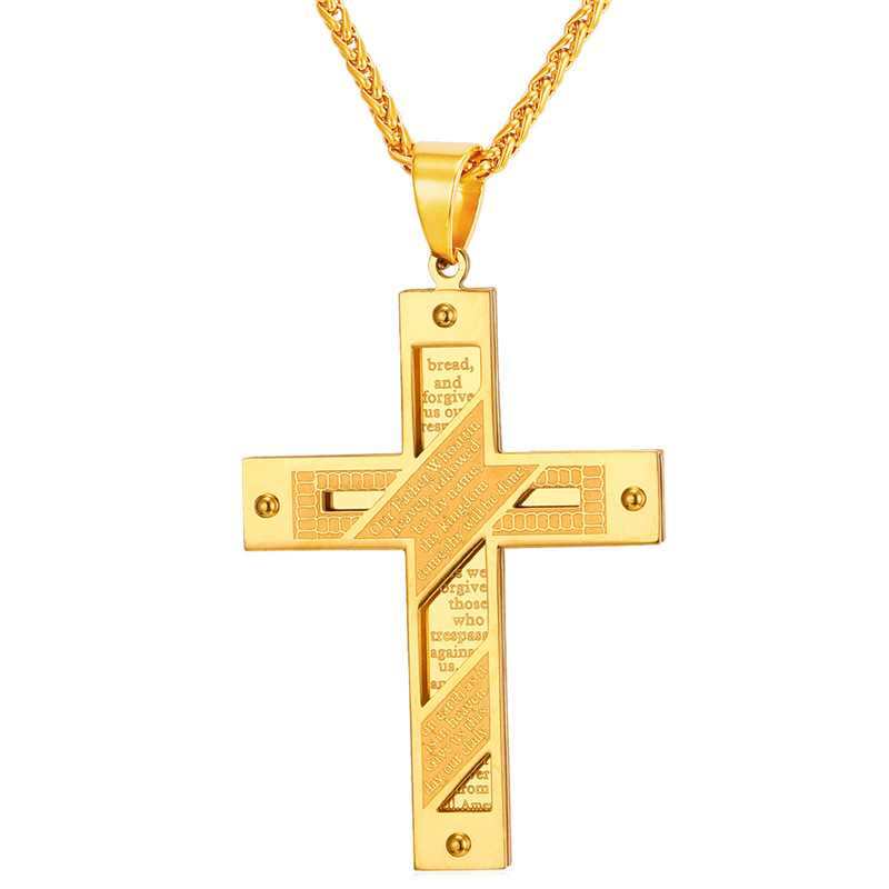 Men Cross Pendent & Necklace Women Men Jewelry Stainless Steel Gold Plated Crucifix Necklaces Pendants Wholesale Jewelry P333(China (Mainland))