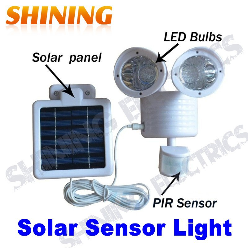 Free Shipping Dual Lamp Solar Motion Sensor Security Spot Garden Light, Aisle/Corridor Light Lamp, PIR Induction Lamp(China (Mainland))