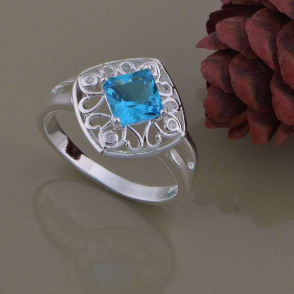2014 Very Reasonable Sliver Plated Women Ring Beautiful Blue Crystal Wedding Bands Popular Fashion Jewelry Ring AR975(China (Mainland))