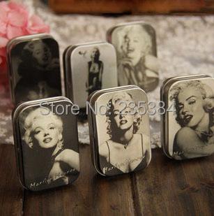 Zakka! 6pcs/lot Classic Collection Marilyn Monroe Mini Tin Storage Box Retro Style Mini Jewelry Case 6 styles mixed Gift(China (Mainland))