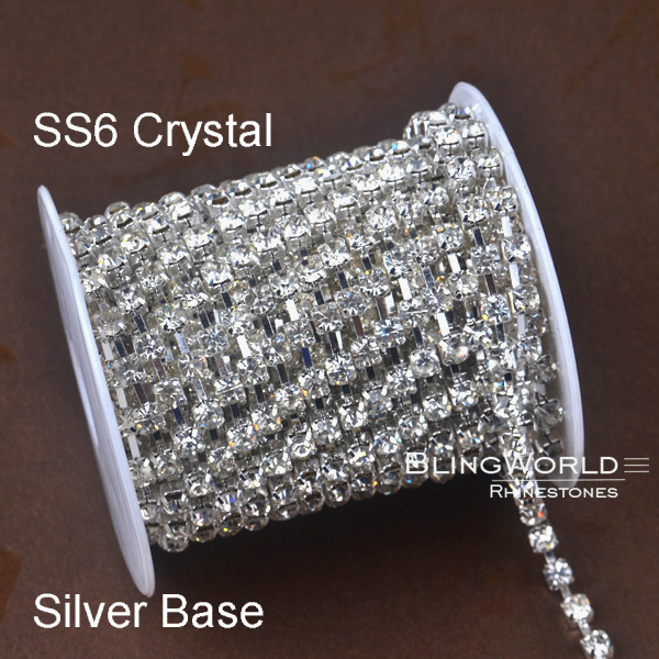 10 Yards 9.14 Meters Sew On Good Quality SS6 Clear Crystal Glass Crystal Rhinestone Chain(China (Mainland))