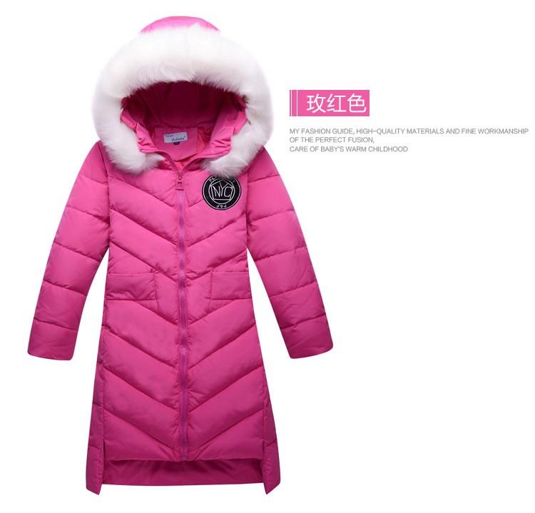 Kız Kış Ceket 2016 Yeni Ceket Büyük Kürk Yaka Uzun Kalın Kış Ceket Kız Outwears Sıcak Winte Için 6-11year Için