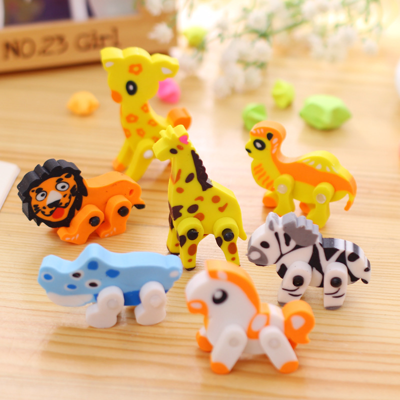 Funy 3D Animal Shaped Panda Horse Giraffe Removable Rubber Eraser Sale School Supplies Children Kids Stationery Toy Gifts E013(China (Mainland))